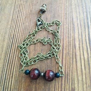 Men's Red Tigers Eye Chain Necklace